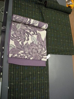 琉球紬とちりめん染め帯